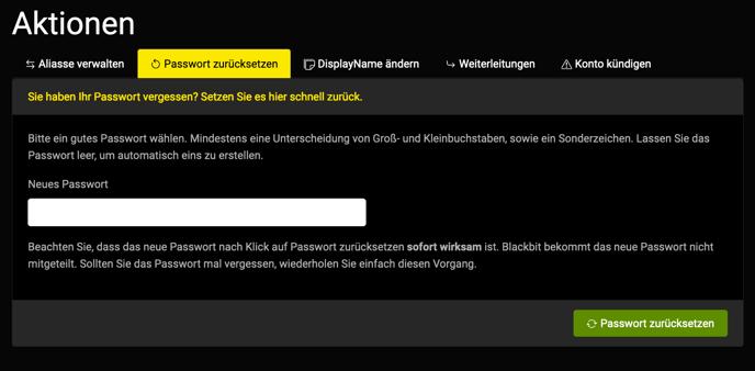 reset PW Blackbit WorkMail