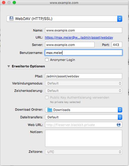 Verbindung zu pimcore per WebDAV einrichten