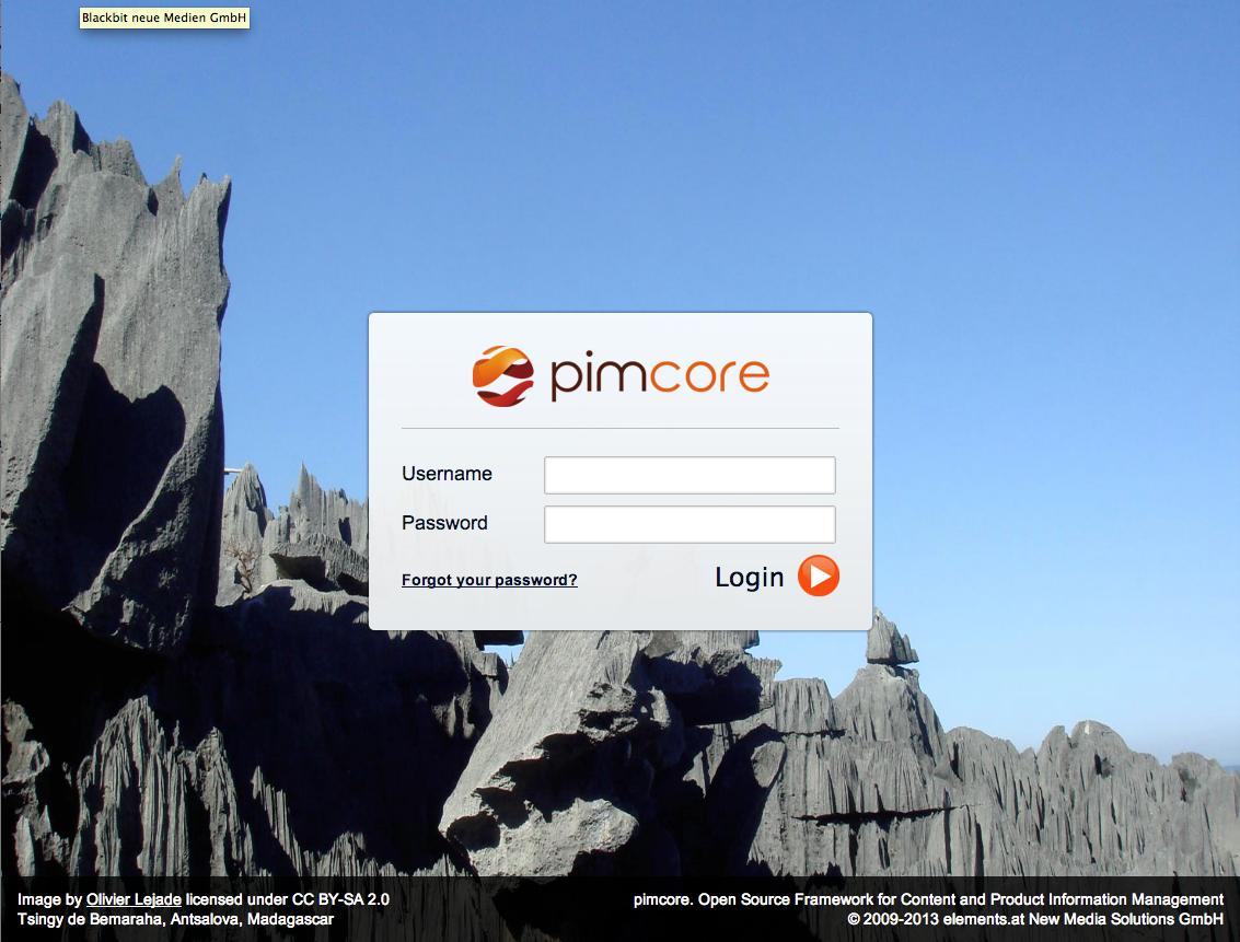 pimcore login