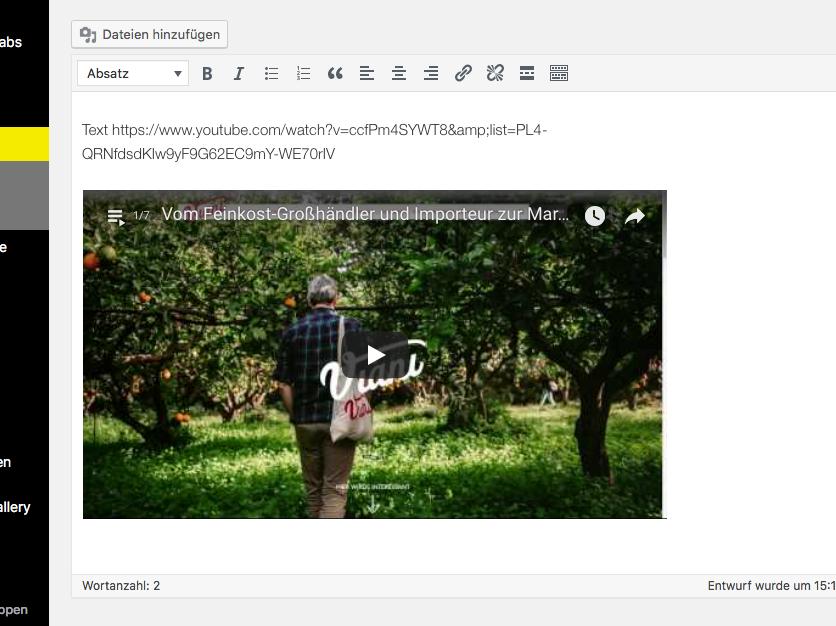 video in wordpress einbetten