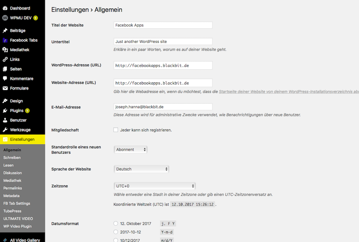 wordpress einstellungen 1